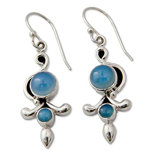 NOVICA .925 Sterling Silver and Blue Chalcedony Dangle Earrings, Sky Garland' (Dangle Blue Chalcedony)