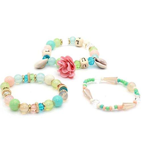 Shell Bangle Bangles (3pcs/set Multilayer Candy Crystal Beads Flower Shell Bracelets & Bangles (Color))