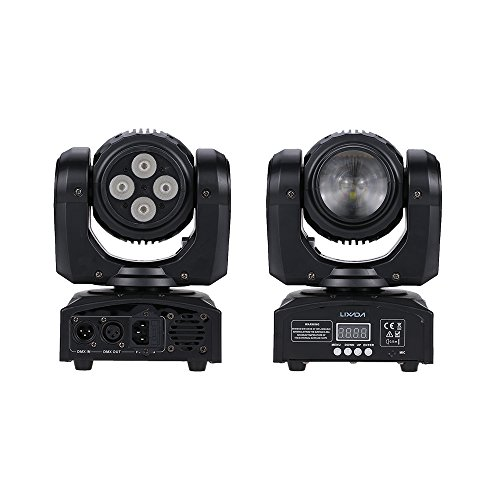 Dmx Moving Head Led Wash (Lixada 5LED 50W Beam Wash Double Sides RGBW 15 / 21 Channel DMX 512 Infinite Rotating Moving Head LED Stage Pattern Lamp for Indoor Disco KTV Club Party)
