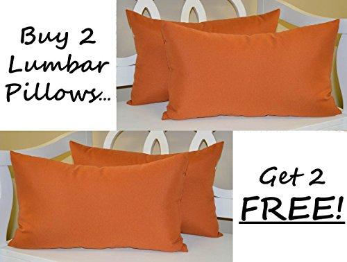 (Set of 2 - Indoor / Outdoor Decorative Lumbar / Rectangle Pillows + 2 Free - Solid Pottery / Clay / Rust / Burnt Orange)