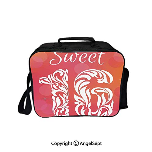 - Fashion Custom Lunch Bag Tote Bag,Greeting Happy Birth Pattern with Classic Effects Artwork Dark Coral Scarlet 8.3inch,Lunch Organizer Lunch Holder For Unisex Adults