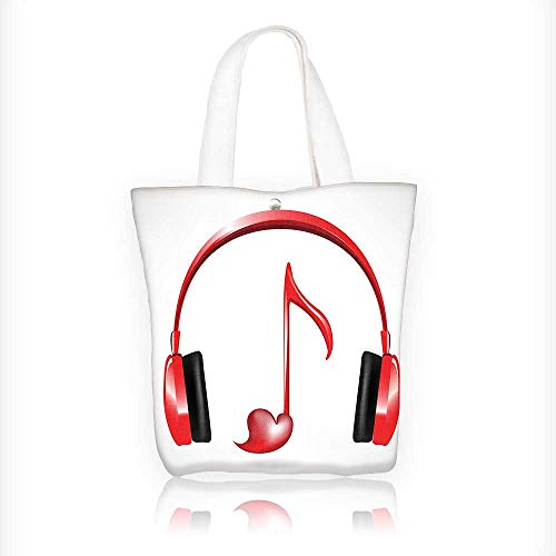 Canvas Tote Bags Love Sound Headphones With Heart Shaped Key