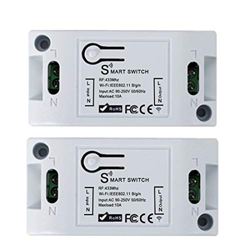 QIACHIP Smart WiFi Switch,433 MHz Universal Smart Home Remote Control DIY WiFi Switch Module Compatible with Amazon Alexa,GoogleHomeAssistant,Nest,Android and iOS (2pcs)