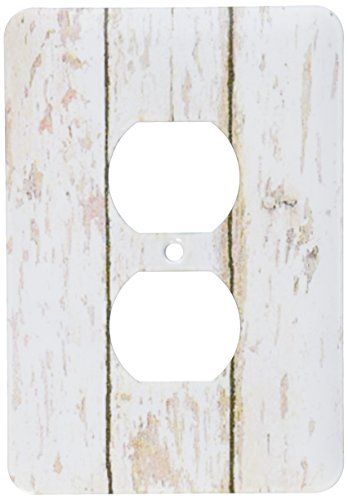 3dRose LLC lsp_109926_6 Country White Wooden Rustic Planks 2 Plug Outlet Cover