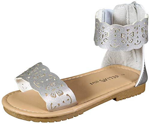 dELiA*s Girls Gladiator Style Sandals with Metallic Perforated Butterfly Details, Silver, Size 6 M US - Footwear Silver Toddler Metallic