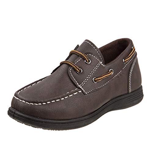 Sport Brown Shoe Flat (Josmo Boys Slip On Boat Shoes, Brown/Black, 2 M US Little Kid')