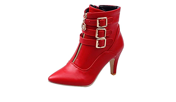 Womens Ankle Boots Mid-high Heels Pointed Toe Side Zipper Mixed Colors Chic T635