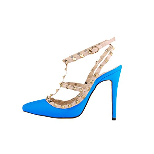 fereshte Women's High Heel Pointed Toe Ankle Strap Stiletto Sandals Blue D4t9N5