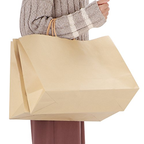 """Corodo Kraft Paper Bags, 50Pcs 16""""x6""""x12"""" Shopping Bag, Kraft Bags, Party Bags, Gift Bags with Handles Brown Color 100% Recyclable Paper"""