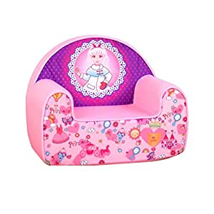 Kids Foam Sofa, Children's Upholstered Sponge Chair with Washable Cover,Pink