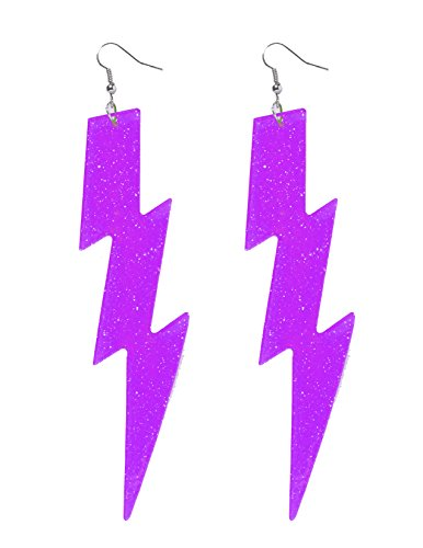[Neon Purple Lightning Bolt Earrings] (80s Earrings)