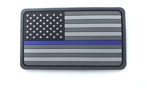 Milspec US Flag PVC Thin Blue Line Morale Patch 3.4 Inch x 2 Inch.