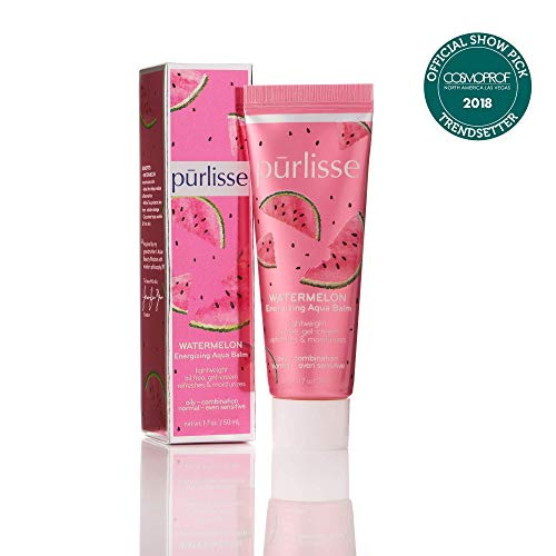 purlisse Watermelon Energizing Aqua Balm - Hydrating Natural Face Moisturizer for Sensitive, Combination, Normal and Oily Skin, 1.7 ounce