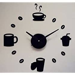 Toprate(TM) Black Cup Coffee Tea Round Modern Stylish Wall Clock Mirror Wall Clock Fashion Modern Design Removable DIY Acrylic 3D Mirror Wall Decal Wall Sticker Decoration