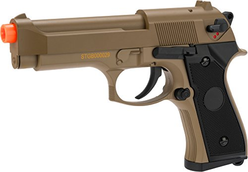 Evike - CYMA Advanced Full Auto Select Fire M9 Airsoft AEP Hand Gun Package (Color: Tan)