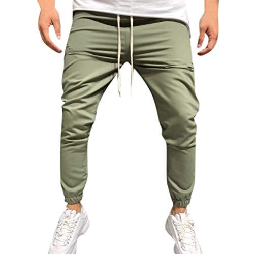 Mens Sweatpants, F_Gotal Men's Casual Plain Drawstring Elastic Waist Corset Trouser Harem Sports Pants with Pockets Green
