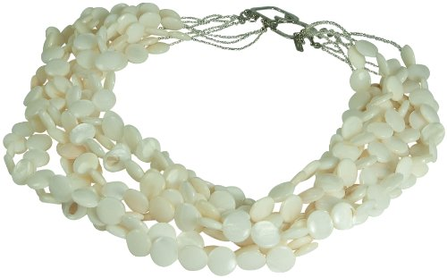 (Kenneth Jay Lane 9 ROW CULTURED PEARLS DISC NECKLACE-SILVER PLATE )