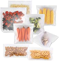 10 Reusable Silicone Food Storage Bags, PEVA Food Bag, sealed and self-sealing storage container for Home organization...