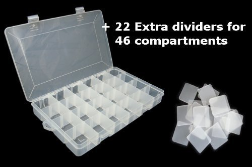 LARGE 46 COMPARTMENTS PLASTIC STORAGE BOX 350x220x48mm: Amazon.co.uk:  Business, Industry U0026 Science