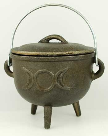 New Age Medium Triple Moon Cast Iron Cauldron