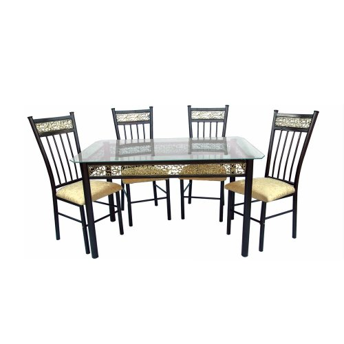 Home Source Industries 5-Piece Bronza Dinette with Glass Table Top and 4 Chairs