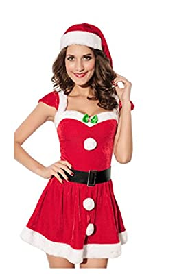 Mumentfienlis Womens Cosplay Christmas Dress Costume Mrs Santa Claus Costume with Hat