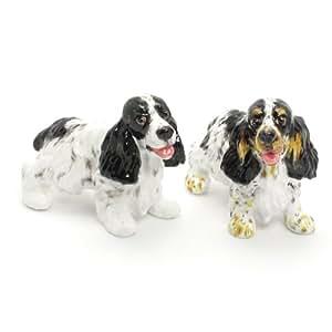 English Cocker Spaniel Dog Ceramic Figurine Salt Pepper Shaker 00007 Ceramic Handmade Dog Lover Gift Collectible Home Decor Art and Crafts