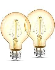 B.K.Licht I LED lampen I filament bulb I retro lamp I industrieel I 2200K I G80 Edison I vintage lichtbron I E27 I 4W I 320lm I warm wit gloeilampen I gloeidraad I LED light I 2-Pack lichtbronnen