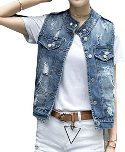 レパートリー誇大妄想感性chenshiba-JP レディースファッションノースリーブボタンアップジャンデニムジャケットベスト
