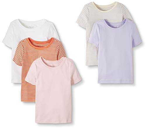 Moon and Back by Hanna Andersson Toddler Kids 5-Pack Organic Cotton Crew Neck Tee, Pink, 2T from Moon and Back by Hanna Andersson