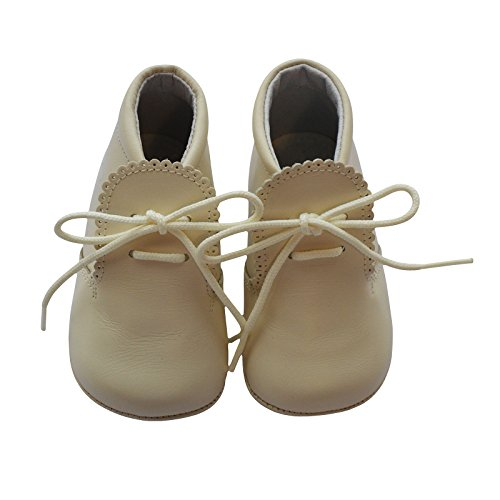 Carriage Boutique Baby Boys Leather Soft Sole Shoes w/Laces - Beige, Size 16 EU/1 US - Lace Carriage