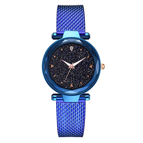 (LUCAMORE Women's Watch, Diamond Personality Fashion Starry Sky Strap Dial Mesh Stainless Steel Band Watch)