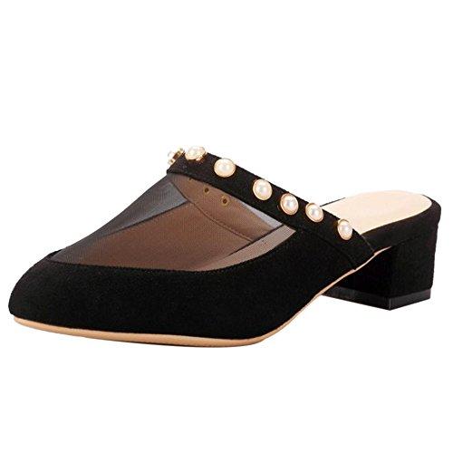 Black TAOFFEN pour Femmes Mules TAOFFEN Mules wXcqB4zc