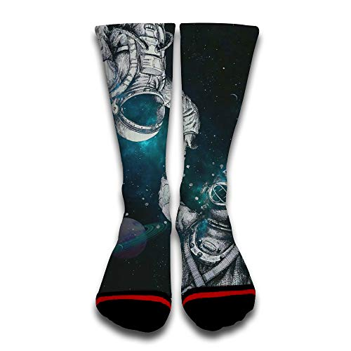 Astronaut And Deep Sea Diver Popular Funny Custom Creative Sport 3D Printed Crew Socks White for $<!--$15.99-->