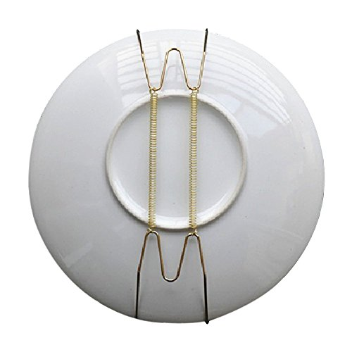 - Pack of 10 8-Inch Spring Style Invisible Plate Tray Dish Wire Hanger Holders Brass Coated, Holds 7.5