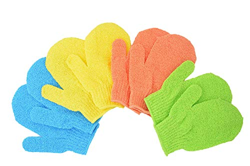 Bath Gloves 4 Pairs,Shower Gloves, Exfoliating Gloves, Mitts gloves for men and women Use,Shower Gloves Body Spa Makes Skin Soft Healthy Body,Wholesale Lot(AOLANS)