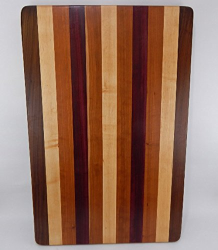 Handcrafted Wood Cutting Board - Edge Grain - Walnut, Cherry, Purpleheart & Maple. No slip bottom and easy grip.For him or her, chef or cook