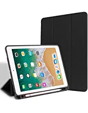 For Apple iPad Pro 12.9 inch released 2018 for model A1876 A2014 A1895 Case PU Leather Slim Smart Cover W Pencil Holder Wake Sleep Function-Black