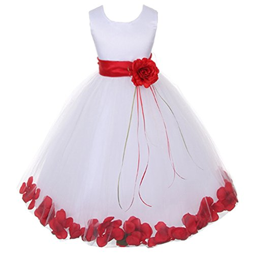 Red Tulle Organza Flowers - Little Girls White Sleeveless Satin Bodice Floating Flower Petals Girl Dress with Matching Organza Sash and Double Tulle Skirt - Red Set - Size 6