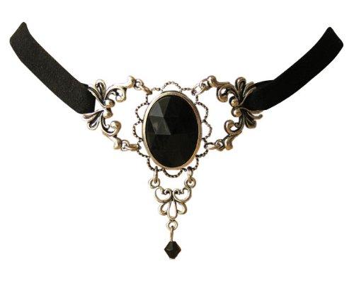 Edles Trachtenschmuck Dirndl Gothic Collier schwarz Ornamentales Design Kropfband im Antikstil