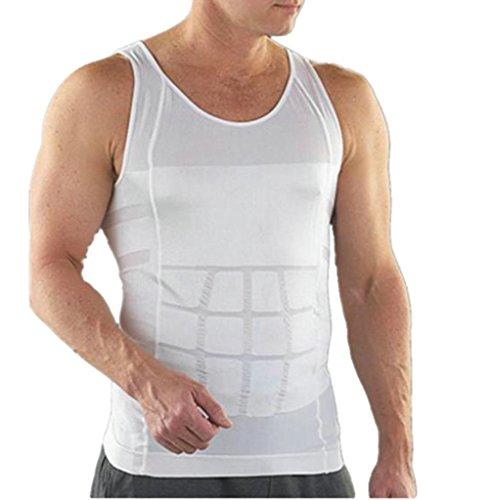 JIAO MIAO Mens Slimming Waist Body Shaper Vest Shirt,T107White-L