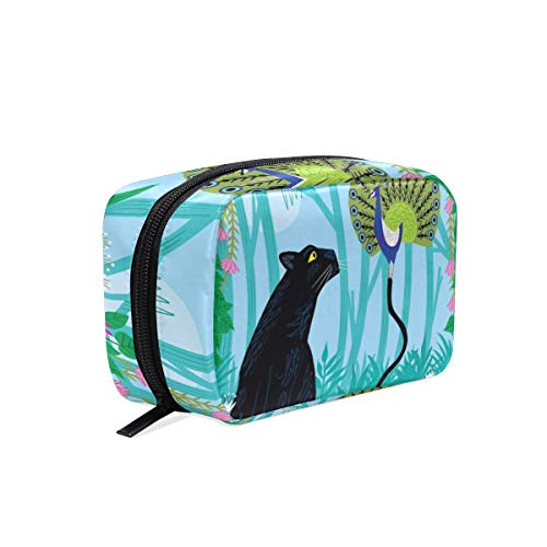 Makeup Bag Jungle Animal Panther Fun With Peacock Cosmetic Pouch -