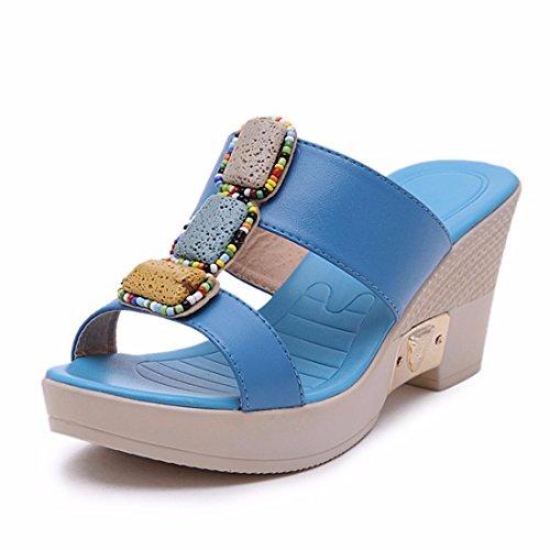 Sandalias Sandalias Mujer Zapatillas Gruesa de de Tacón y Zapatillas de blue Suela Mujer Alto de 8qtw8IrA