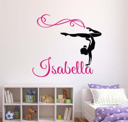 Beautiful Personalised Custom Name Wall sticker home decoration Gymnastic vinyl decals For girls room wall decor wall mural wall art sticker