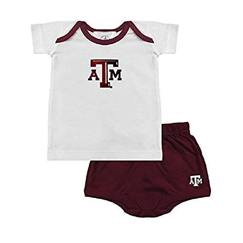 Two Feet Ahead Boys Texas A&M Ringer Tee & Shorts (4, Maroon)