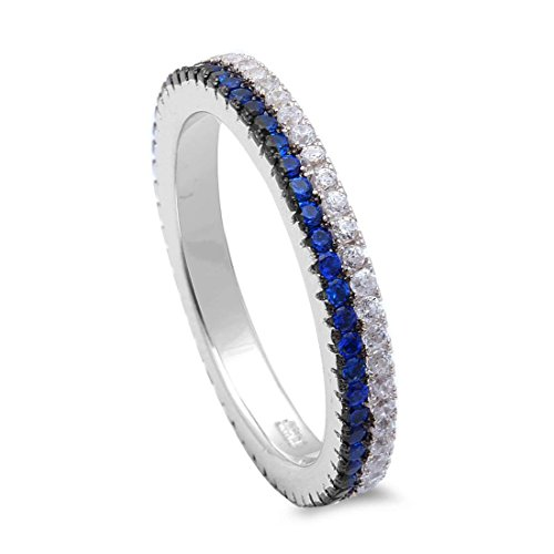 3mm Full Eternity Stackable Thin Blue Line Band Ring Round Simulated Sapphire CZ 925 Sterling Silver, Size-8