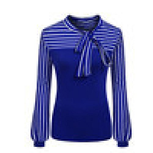 Striped Open Neck Shirt (Pengy Women Fashion Tie-Bow Neck Striped Long Sleeve Splicing Shirt Blouse (Blue, M))