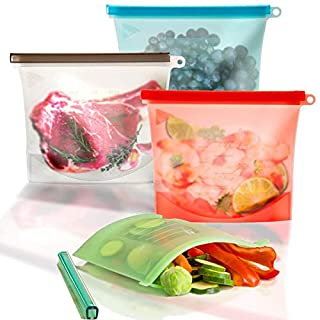 Silicone Reusable Food Bag for Sandwich,Fruit,Meat,Juice,Lunch,Snack Storage,Food Grade,Microwave Dishwasher Freezer Safe,Leakproof,1 Litre,4-Pack(Pink,Green,Blue,White)