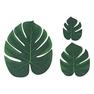 ShoppeWatch Artificial Palm Leaves with Stem and Tropical Monstera Fronds (48 Pcs) Philodendron Party Decorations Faux Palm Tree Plant Leaf Fake Imitation Ferns Branches Home Kitchen Plastic Decor 4