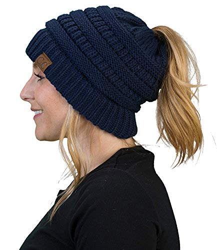 Womens Knit Navy Hat - BT-6020a-31 Messy Bun Womens Winter Knit Hat Beanie Tail - Navy